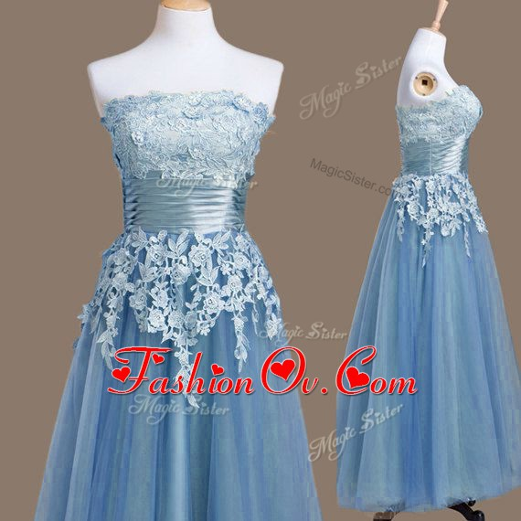 Fitting Tea Length Lace Up Dama Dress for Quinceanera Blue for Prom and Party and Wedding Party with Appliques