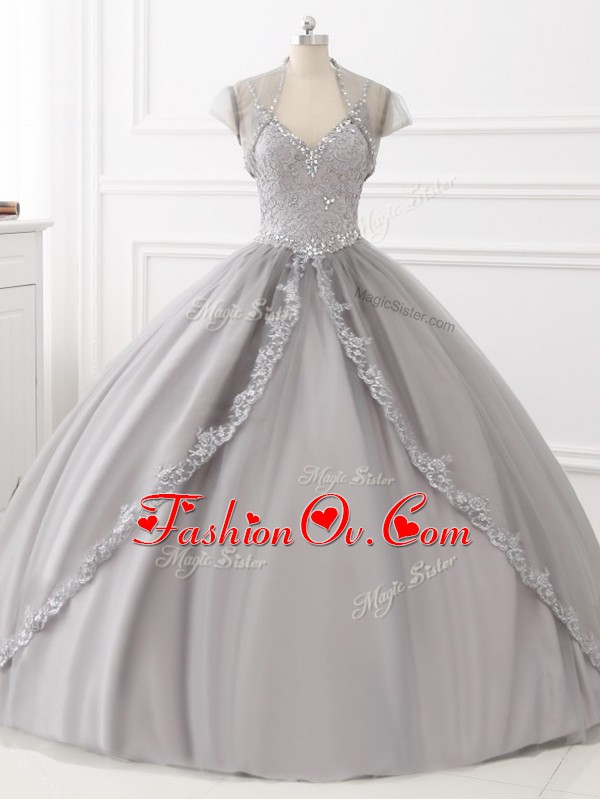 Glamorous Grey Quinceanera Gown Sweet 16 and Quinceanera with Beading and Appliques Straps Sleeveless Lace Up