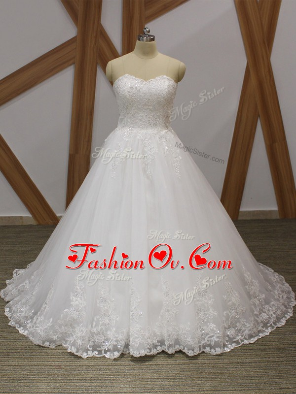 Sweetheart Sleeveless Brush Train Lace Up Bridal Gown White Organza