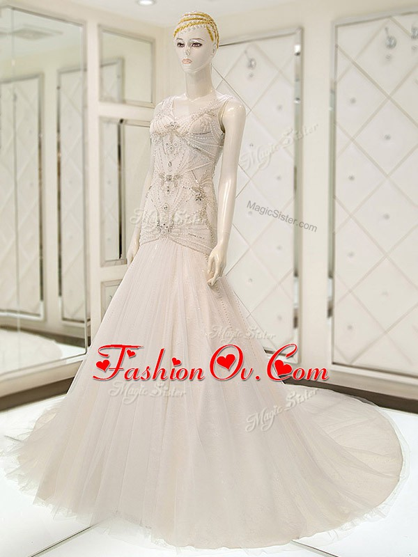 White V-neck Neckline Beading Wedding Dresses Sleeveless Side Zipper