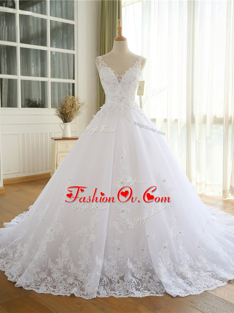 White Lace Up V-neck Lace and Appliques Wedding Dress Organza Sleeveless