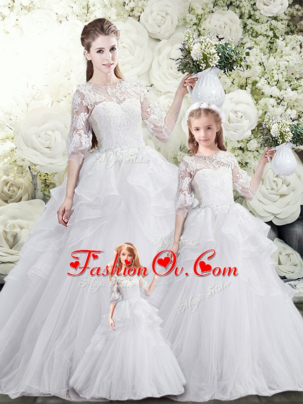 Half Sleeves Lace and Ruffles Lace Up 15 Quinceanera Dress with White Sweep Train