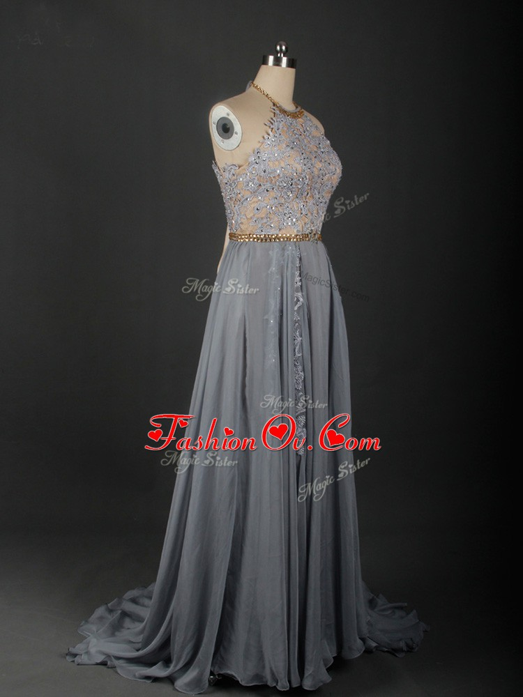 Colorful Grey Halter Top Neckline Beading and Appliques Dress for Prom Sleeveless Lace Up