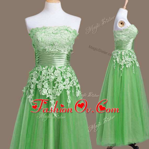 Fantastic Strapless Sleeveless Quinceanera Court Dresses Tea Length Appliques Green Tulle