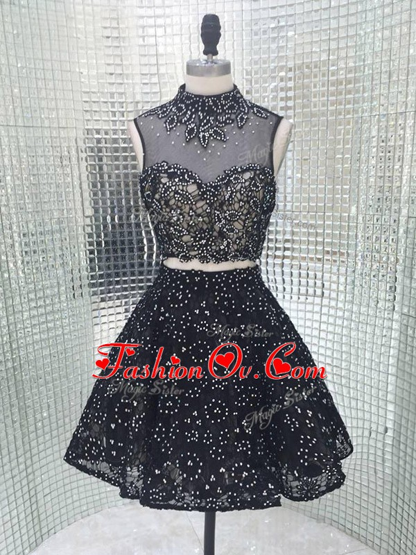 Affordable Black Sleeveless Beading and Lace and Appliques Mini Length Prom Gown