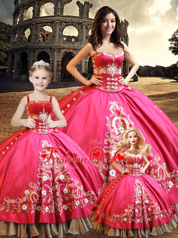 Hot Pink Lace Up Sweetheart Beading and Embroidery Sweet 16 Quinceanera Dress Taffeta Sleeveless