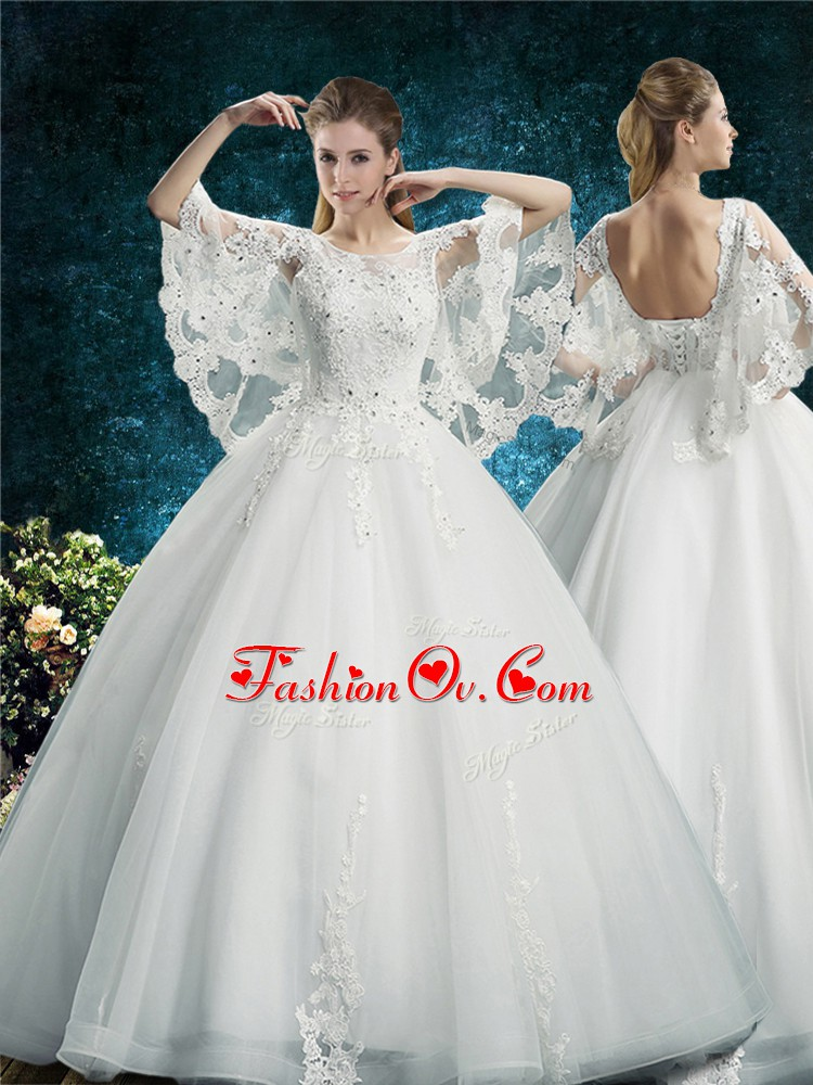 Fitting Scoop Half Sleeves Lace Up Wedding Dress White Tulle