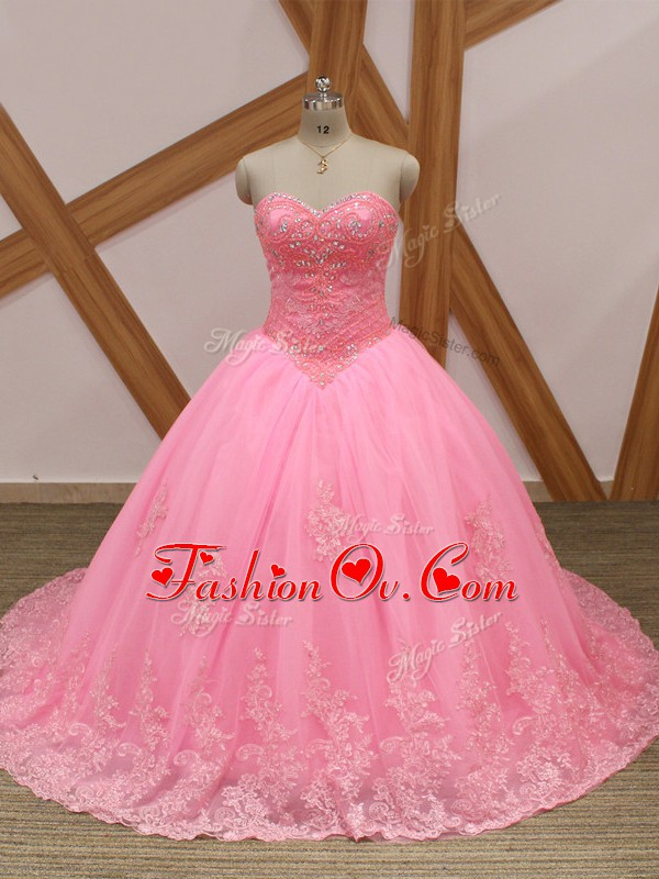 Sweet Lace Up Quinceanera Dress Rose Pink for Military Ball and Sweet 16 and Quinceanera with Beading and Lace Brush Train
