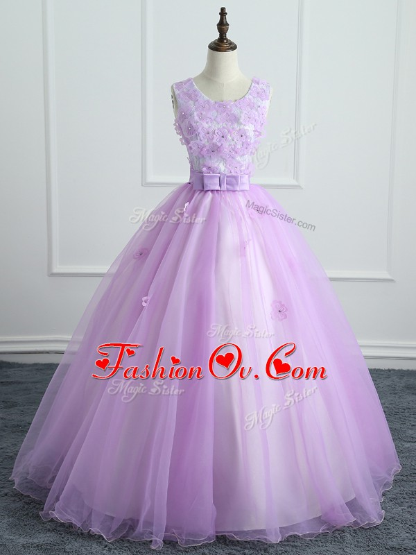 Lavender Ball Gowns Scoop Sleeveless Organza Floor Length Lace Up Lace and Appliques and Bowknot Quinceanera Gowns