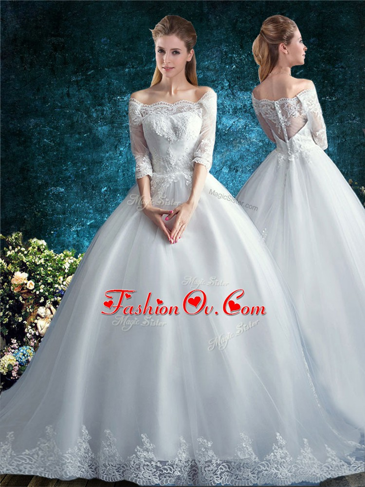 Latest White Half Sleeves Tulle Court Train Clasp Handle Wedding Gowns for Wedding Party