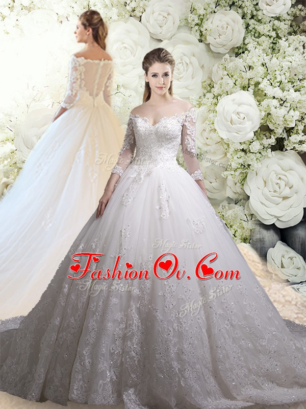 White Tulle Zipper Off The Shoulder 3 4 Length Sleeve Wedding Gowns Chapel Train Lace
