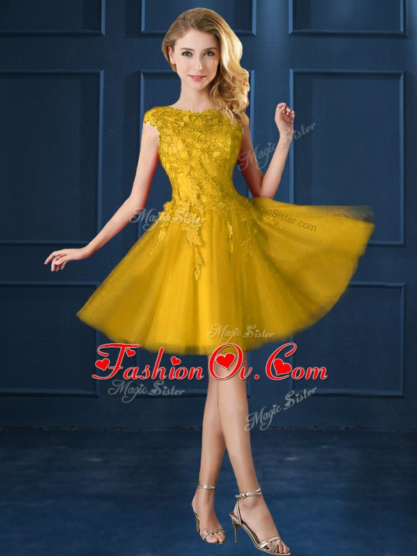 Gold A-line Bateau Cap Sleeves Tulle Knee Length Lace Up Lace and Appliques Wedding Party Dress