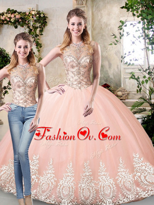 Artistic Peach Lace Up Scoop Beading and Lace and Appliques Quince Ball Gowns Tulle Sleeveless
