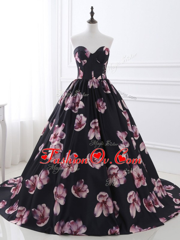 Sweetheart Sleeveless Printed Evening Dress Ruching Brush Train Lace Up