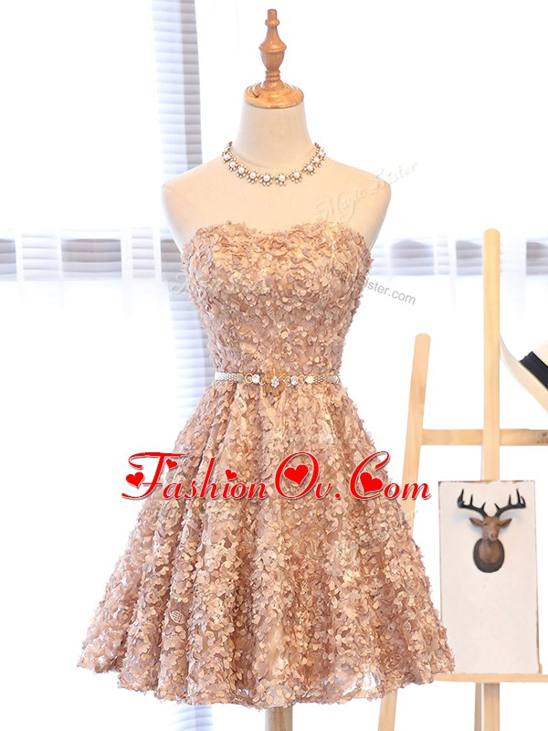 Champagne Cocktail Dress Prom and Party and Sweet 16 with Belt Sweetheart Sleeveless Lace Up