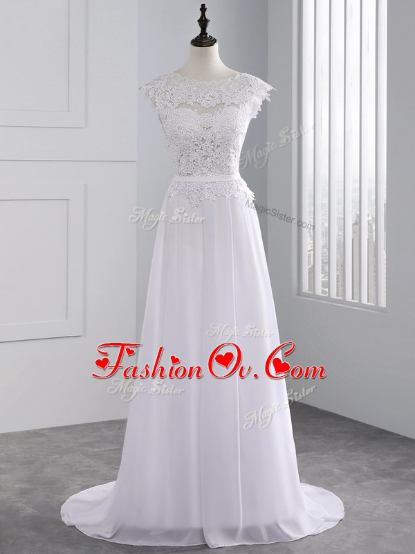 Scalloped Cap Sleeves Chiffon Wedding Gowns Lace Brush Train Backless
