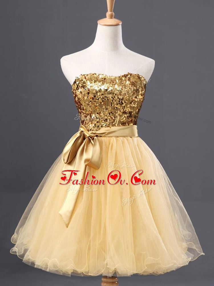 Luxurious Gold Tulle Zipper Sweetheart Sleeveless Mini Length Prom Party Dress Sequins