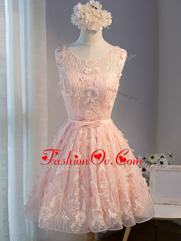 Tulle Sleeveless Mini Length and Appliques and Belt