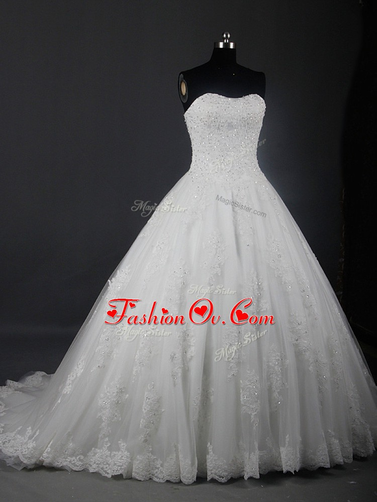 Fashion Brush Train Ball Gowns Wedding Gown White Strapless Tulle Sleeveless Lace Up