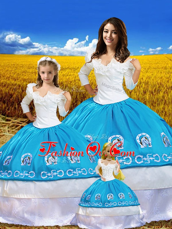 Embroidery 15 Quinceanera Dress Blue And White Lace Up 3 4 Length Sleeve Floor Length