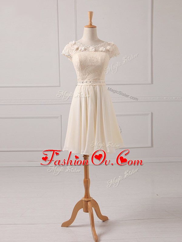 Hot Sale Champagne Empire Scoop Cap Sleeves Chiffon Mini Length Lace Up Lace and Appliques Damas Dress