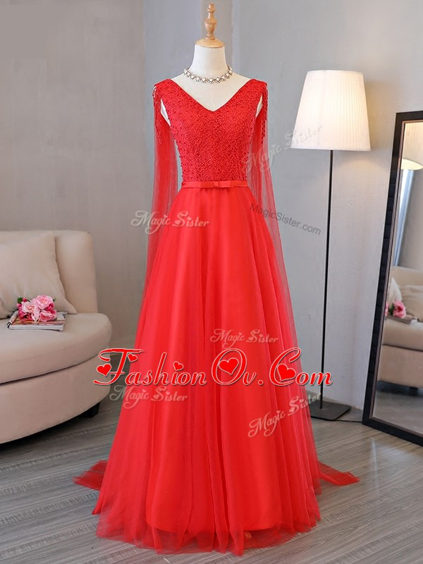 V-neck Sleeveless Lace Up Homecoming Dress Red Tulle