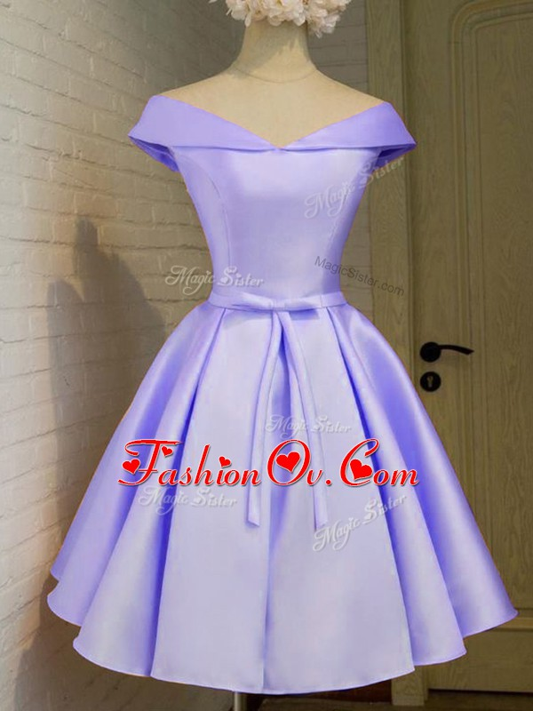 Off The Shoulder Cap Sleeves Wedding Guest Dresses Knee Length Belt Lavender Taffeta