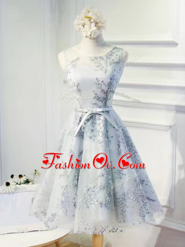 Sleeveless Lace Up Mini Length Lace and Appliques and Belt Homecoming Dresses