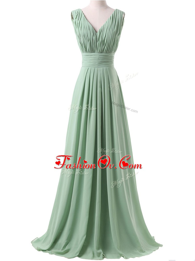 Pretty Sleeveless Ruching Lace Up Dama Dress for Quinceanera