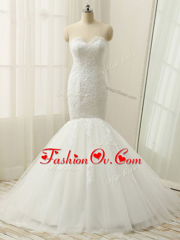 White Mermaid Lace Wedding Gown Zipper Tulle Sleeveless