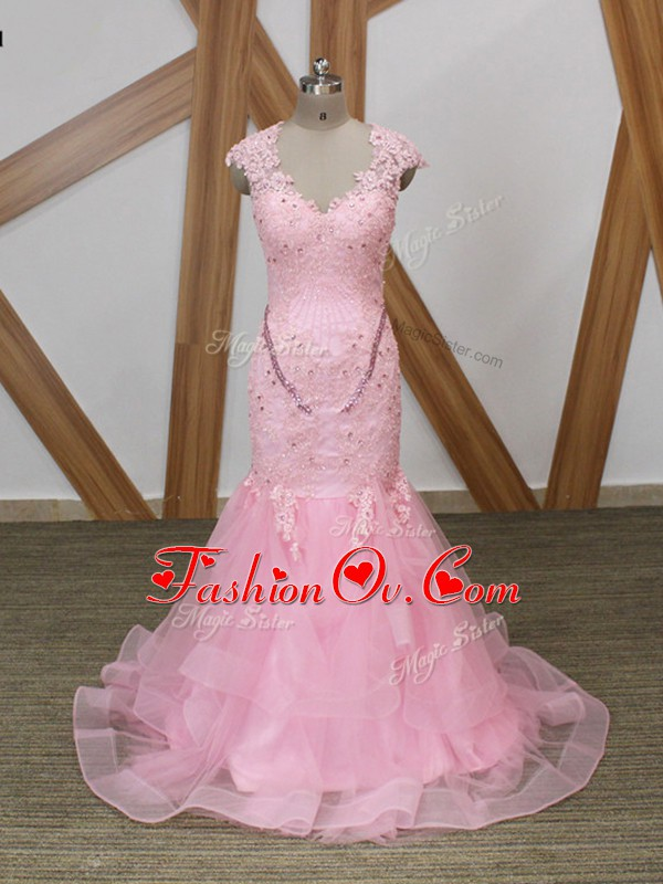 Baby Pink Tulle Backless V-neck Cap Sleeves Evening Wear Beading and Lace and Appliques and Ruffles