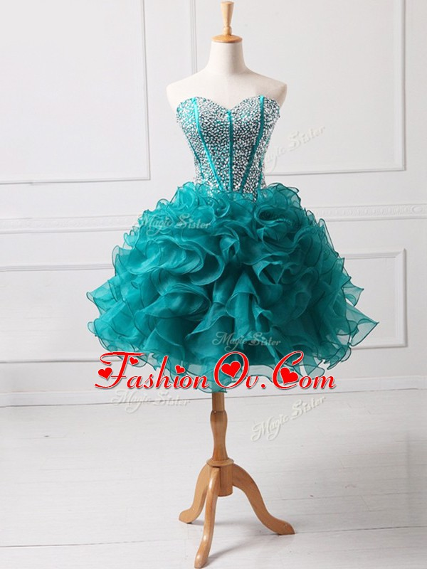 Wonderful Teal Organza Lace Up Sweetheart Sleeveless Mini Length Cocktail Dresses Beading and Ruffles