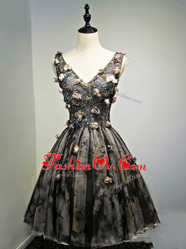 Pretty Black Sleeveless Hand Made Flower Mini Length Dress for Prom