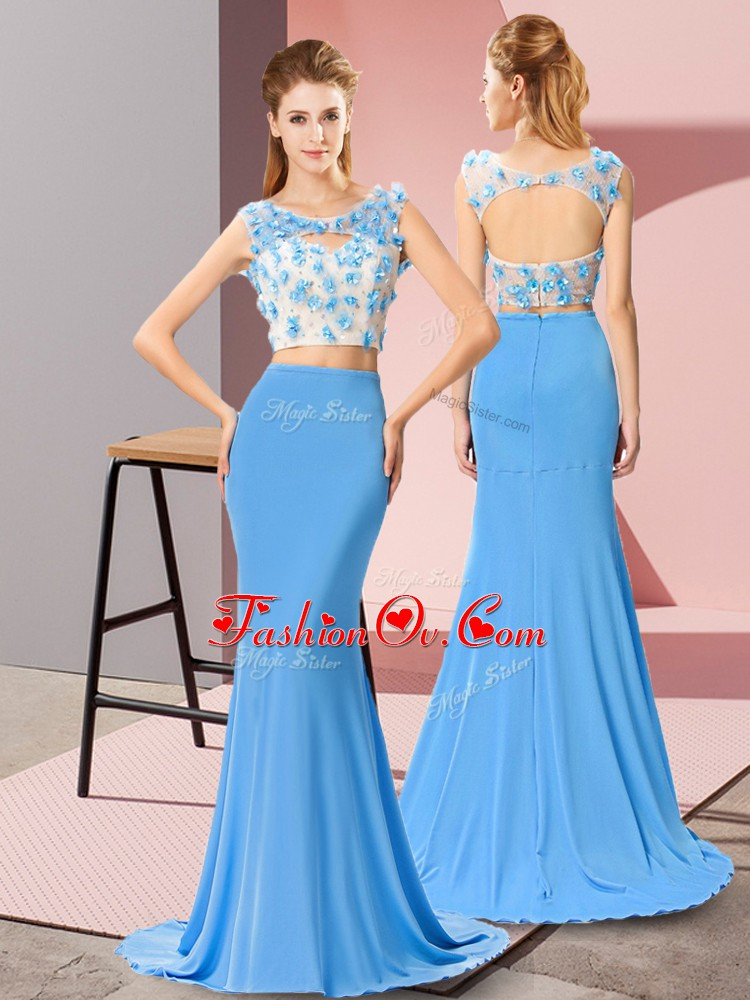 Latest Baby Blue Sleeveless Brush Train Beading and Hand Made Flower Homecoming Dress