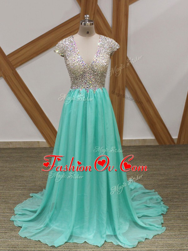 Apple Green Empire Chiffon Scoop Short Sleeves Beading Backless Evening Dresses Brush Train