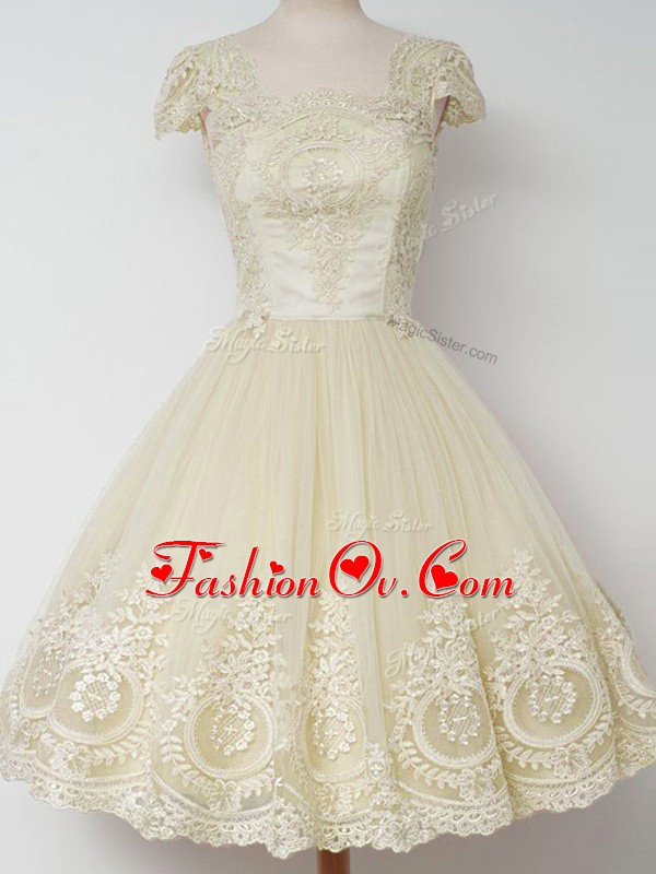 Traditional Knee Length Zipper Wedding Party Dress Light Yellow for Prom and Party and Wedding Party with Lace