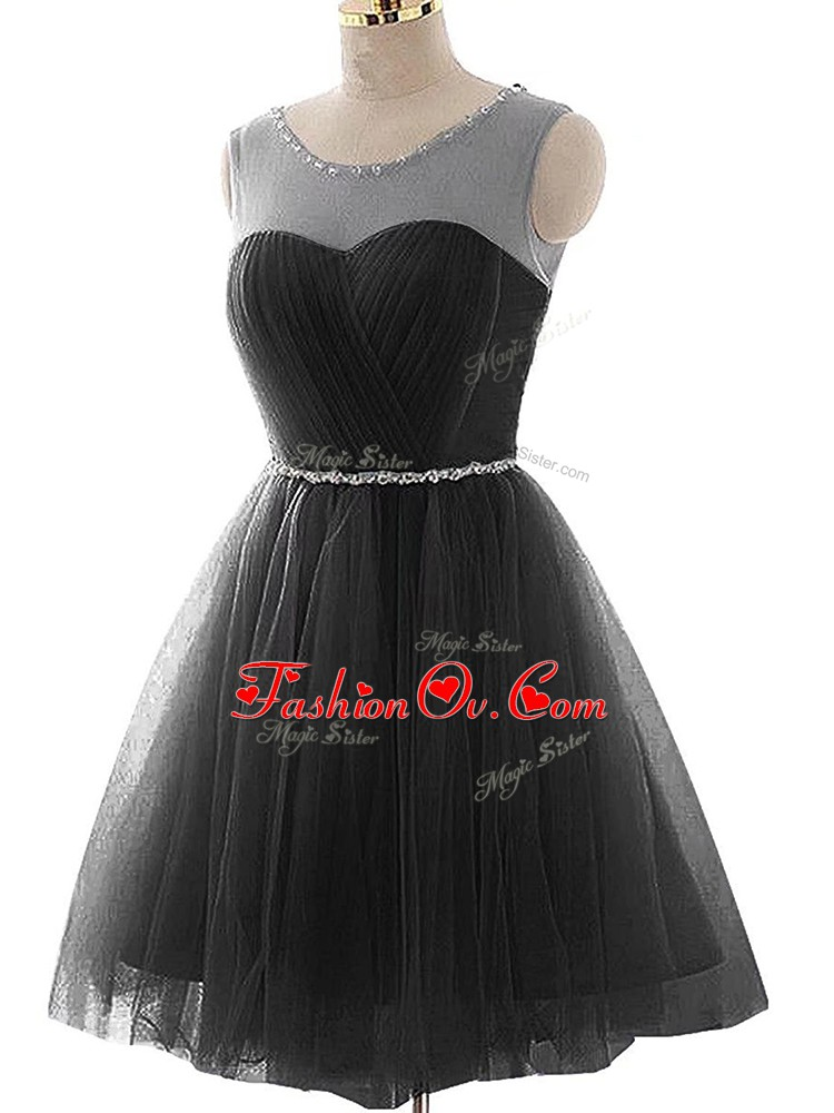 Classical Black Tulle Lace Up Prom Gown Sleeveless Mini Length Beading and Ruching