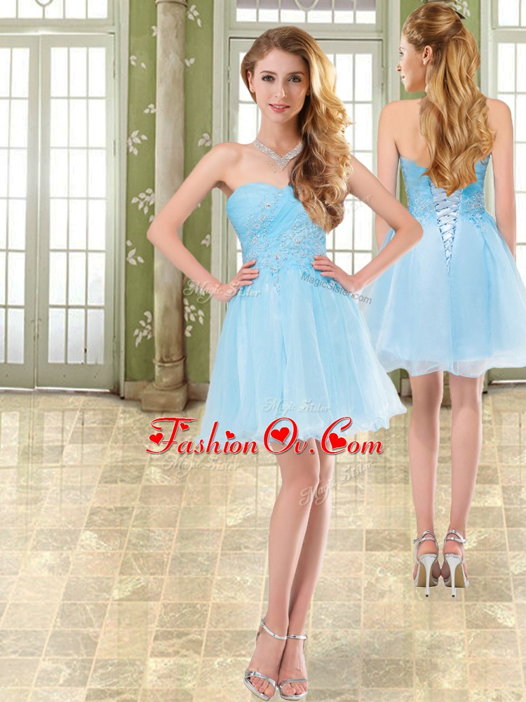 Baby Blue Chiffon Lace Up Prom Gown Sleeveless Mini Length Beading