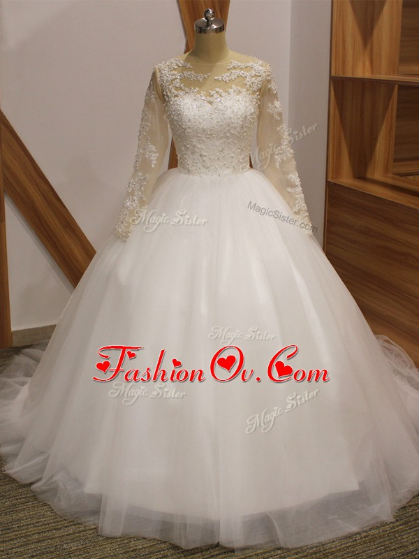 White Tulle Clasp Handle Wedding Gown Long Sleeves Brush Train Lace