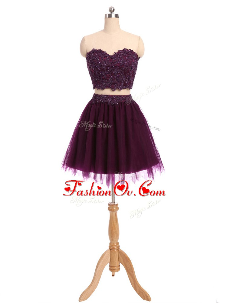 Pretty Sleeveless Mini Length Beading and Appliques Zipper Cocktail Dresses with Dark Purple