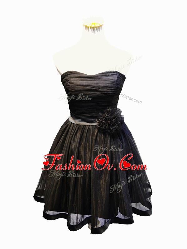 Fine Tulle Sweetheart Sleeveless Lace Up Ruching and Bowknot and Hand Made Flower Homecoming Dress in Black