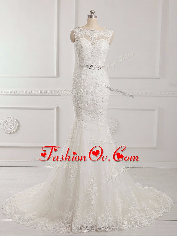 Scalloped Sleeveless Tulle Wedding Gowns Beading and Lace and Appliques Brush Train Backless