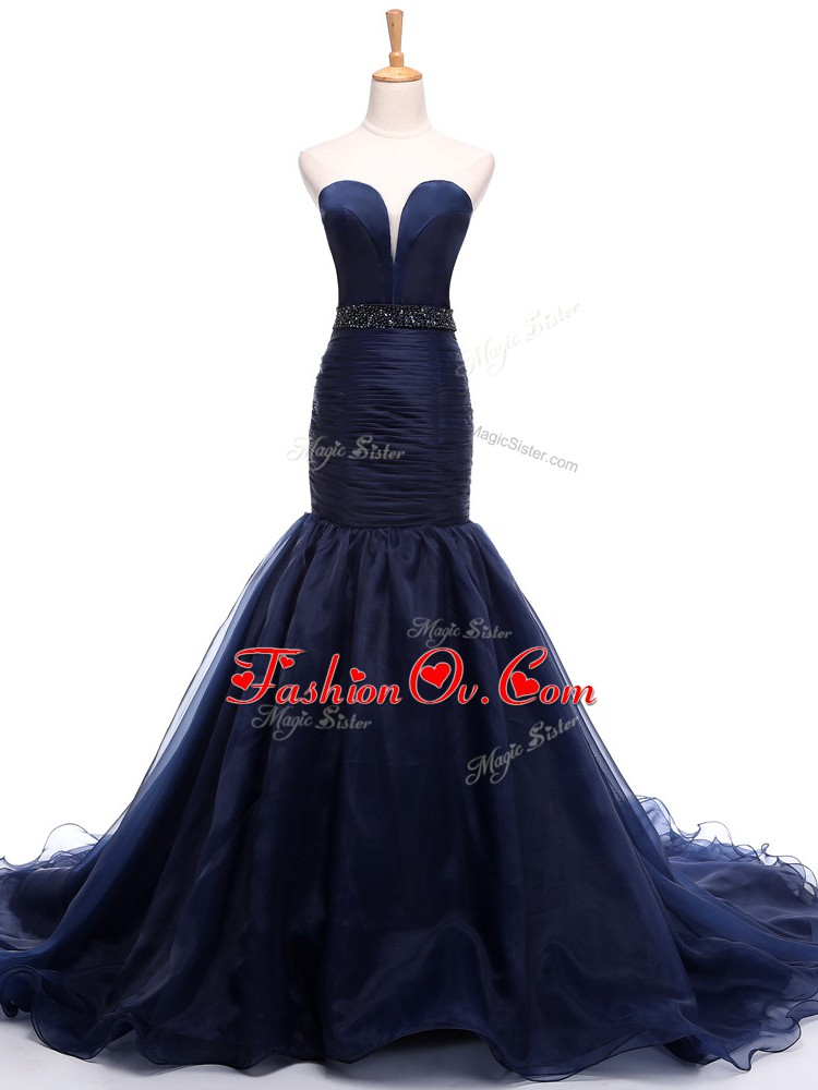 Best Selling Navy Blue Mermaid Tulle Sweetheart Sleeveless Beading and Ruching Lace Up Pageant Dress Wholesale Court Train