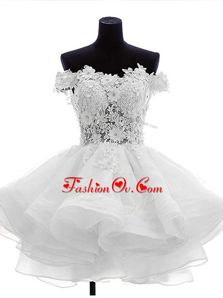 Sleeveless Mini Length Beading and Lace and Ruffles Zipper Club Wear with White