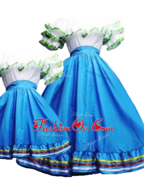 Pretty Baby Blue Short Sleeves Floor Length Pick Ups Lace Up Quinceanera Dress