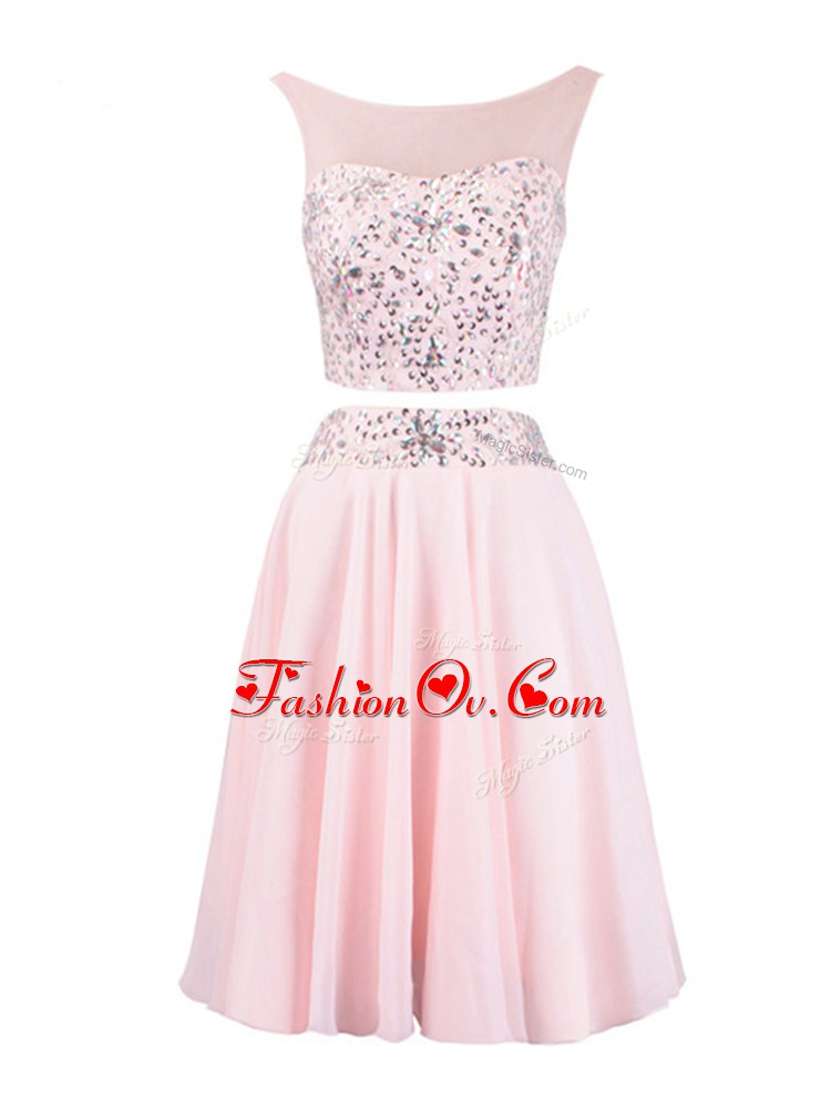 Discount Scoop Sleeveless Organza Beading Zipper