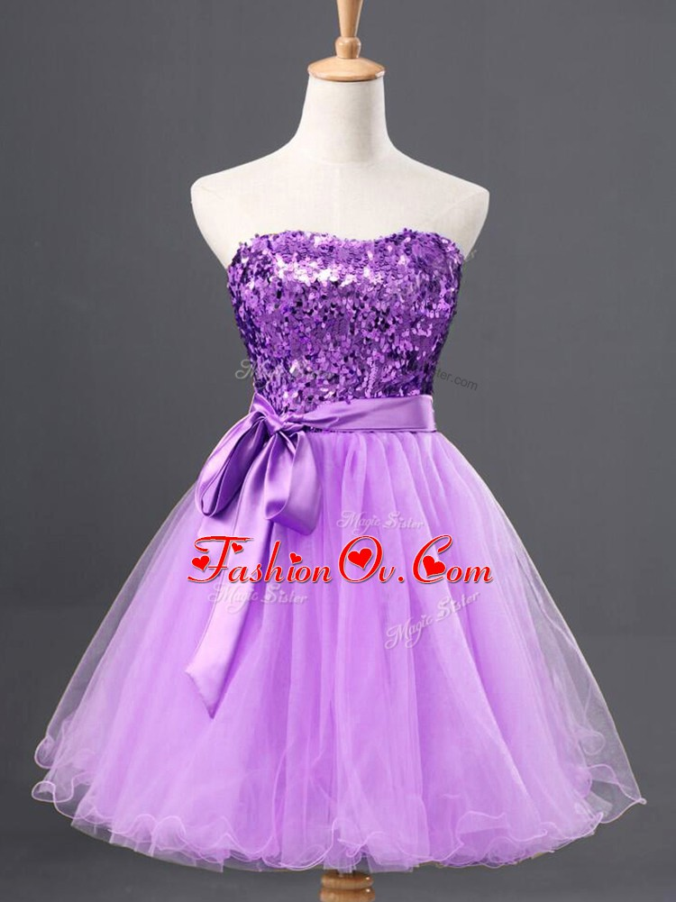 Lavender Tulle Zipper Sweetheart Sleeveless Mini Length Prom Gown Sashes ribbons and Sequins
