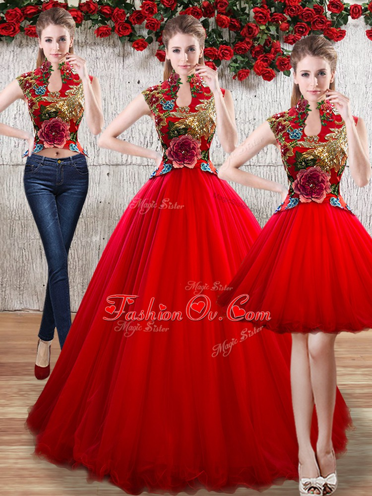 Appliques 15 Quinceanera Dress Red Lace Up Sleeveless Floor Length
