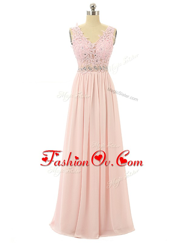 Super Pink Sleeveless Floor Length Beading and Appliques Zipper Homecoming Dress