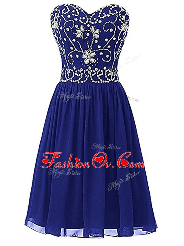 Adorable Beading Prom Evening Gown Royal Blue Zipper Sleeveless Knee Length